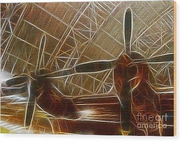 Plane In The Hanger Wood Print by Paul Ward