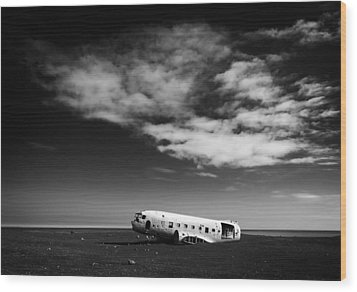 Wood Print featuring the photograph Plane Wreck Black And White Iceland by Matthias Hauser