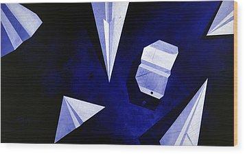Planes On Blue Wood Print by Lucas Boyd