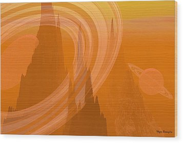 Planet Citrus Wood Print by Wayne Bonney