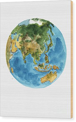 Planet Earth Watercolor Art Print Painting Wood Print by Joanna Szmerdt