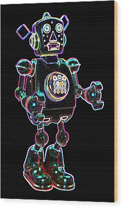 Planet Robot Wood Print by DB Artist
