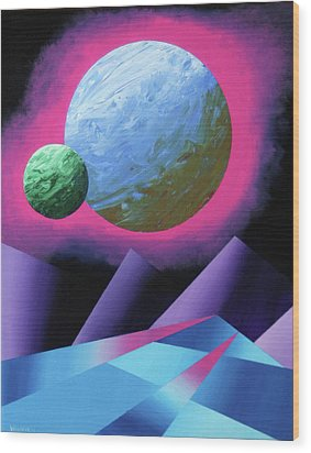 Planet X Abstract Landscape Painting Wood Print by Mark Webster
