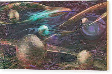 Wood Print featuring the digital art Planetary Chaos by Linda Sannuti