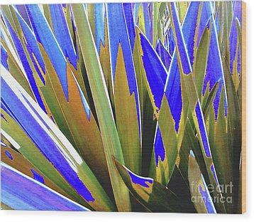 Plant Burst - Blue Wood Print