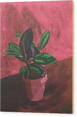 Plant In Ceramic Pot Wood Print