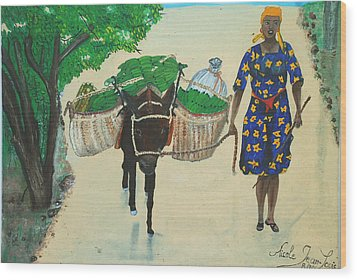 Wood Print featuring the painting Plantain Merchant Woman by Nicole Jean-Louis