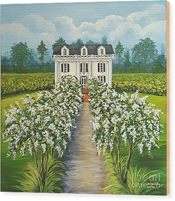 Plantation Home Wood Print by Sandra Lett
