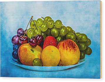 Wood Print featuring the photograph Plate Of Fresh Fruits by Alexander Senin