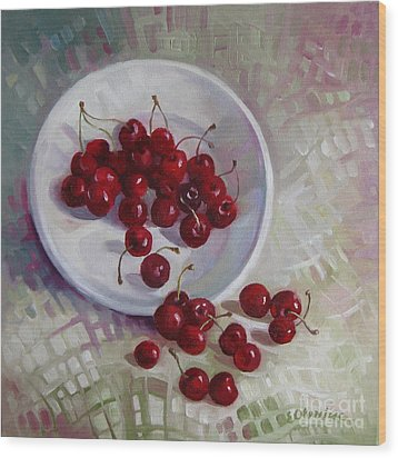 Plate With Cherries Wood Print