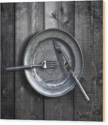 Plate With Silverware Wood Print by Joana Kruse