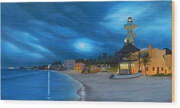 Playa De Noche Wood Print by Angel Ortiz