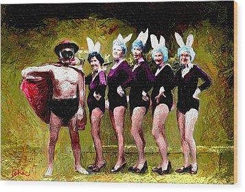 Playboy And Bunnies Wood Print