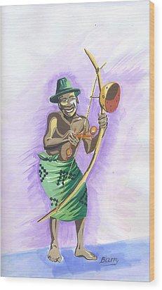 Wood Print featuring the painting Player Umuduri From Rwanda by Emmanuel Baliyanga