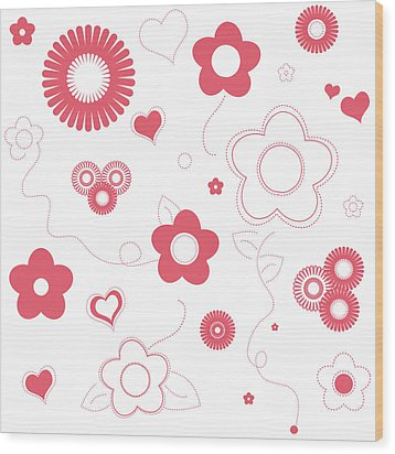 Playful Flower Background Wood Print by Serena King