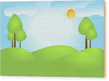 Playful Kid's Spring Backdrop Wood Print