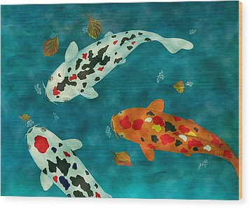 Wood Print featuring the painting Playful Koi Fishes Original Acrylic Painting by Georgeta Blanaru