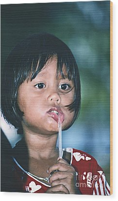 Wood Print featuring the photograph Playful Little Girl In Thailand by Heiko Koehrer-Wagner
