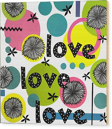 Wood Print featuring the mixed media Playful Love by Gloria Rothrock