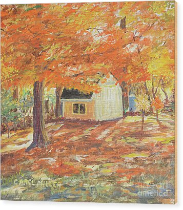 Playhouse In Autumn Wood Print by Carol L Miller