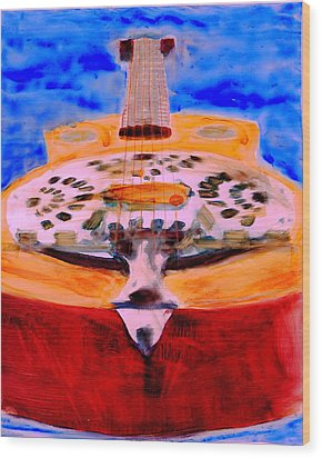 Wood Print featuring the painting Playin The Blues by FeatherStone Studio Julie A Miller