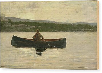 Playing A Fish Wood Print by Winslow Homer