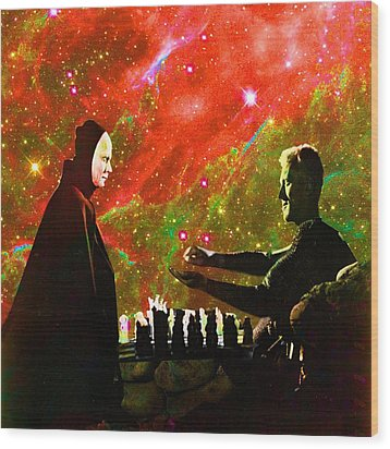 Playing Chess With Death Wood Print by Matthew Lacey