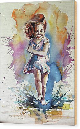 Wood Print featuring the painting Playing Girl by Kovacs Anna Brigitta