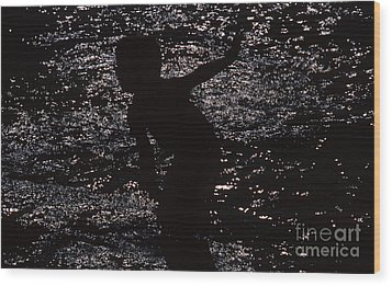 Wood Print featuring the photograph Playing In The Water by Edward R Wisell