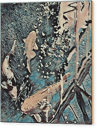 Wood Print featuring the digital art Playing It Koi by Mindy Newman