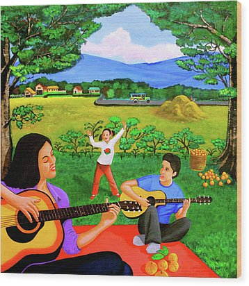 Wood Print featuring the painting Playing Melodies Under The Shade Of Trees by Lorna Maza
