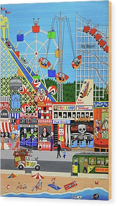 Playland In The Afterlife Wood Print by Evangelina Portillo