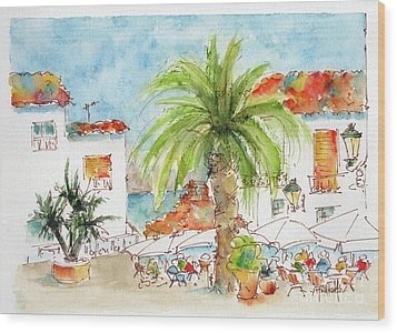 Wood Print featuring the painting Plaza Altea Alicante Spain by Pat Katz