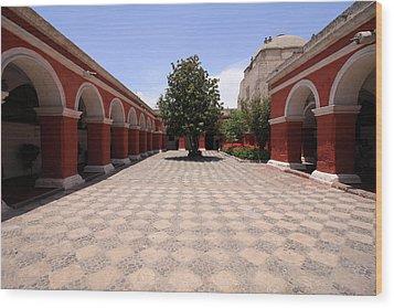 Plaza At Santa Catalina Monastery Wood Print by Aidan Moran