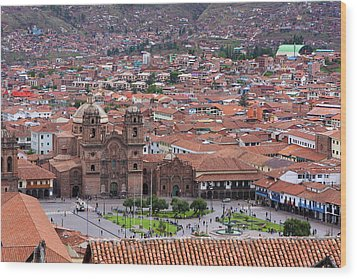 Wood Print featuring the photograph Plaza De Armas, Cusco, Peru by Aidan Moran