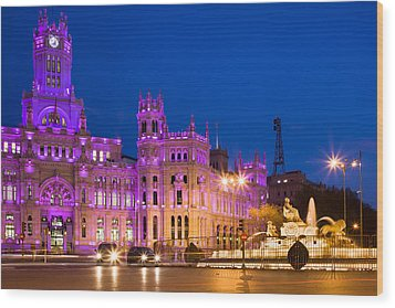 Plaza De Cibeles In Madrid Wood Print