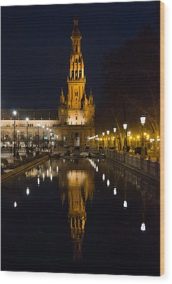 Plaza De Espana At Night - Seville 6 Wood Print