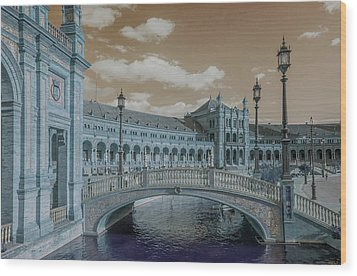 Wood Print featuring the photograph Plaza De Espana Vintage by Jenny Rainbow