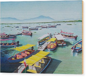 Wood Print featuring the mixed media Pleasure Boats On Lake Chapala by Constance Drescher