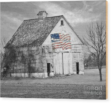 Pledge Of Allegiance Crib Wood Print by Kathy M Krause