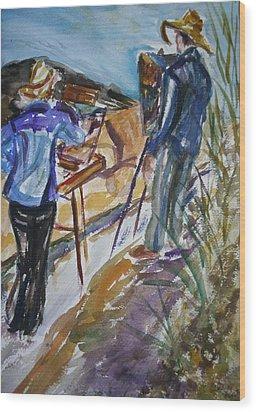 Plein Air Painters - Original Watercolor Wood Print by Quin Sweetman