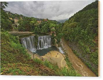 Pliva Waterfall, Jajce, Bosnia And Herzegovina Wood Print