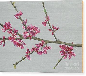 Plum Blossom Wood Print by Glenda Zuckerman
