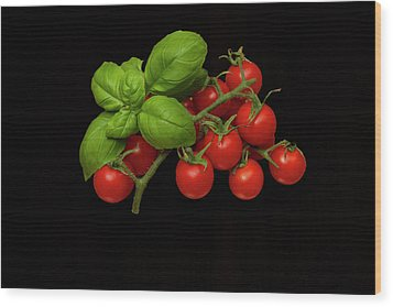 Wood Print featuring the photograph Plum Cherry Tomatoes Basil by David French