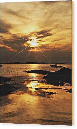 Plum Cove Beach Sunset E Wood Print