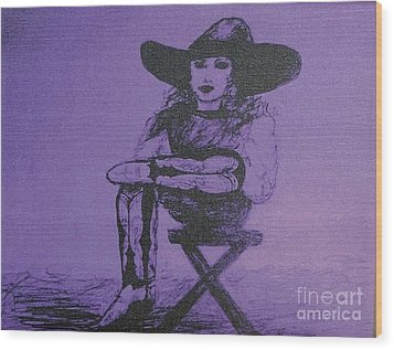 Plum Cowgirl Wood Print by Susan Gahr