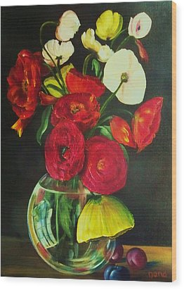 Plum Ranunculus Wood Print by Dana Redfern