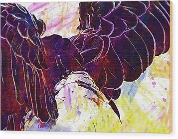 Wood Print featuring the digital art Plumage Bald Eagle  by PixBreak Art