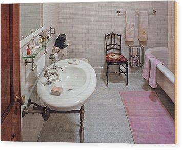Plumber - The Bathroom  Wood Print by Mike Savad
