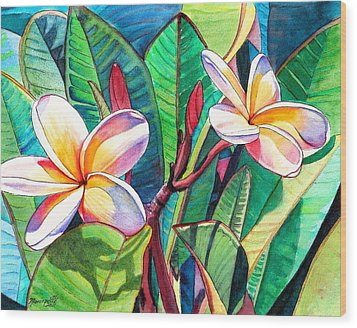 Wood Print featuring the painting Plumeria Garden by Marionette Taboniar